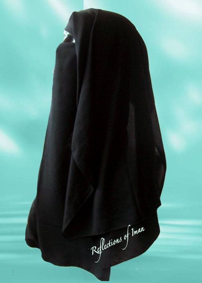 Saudi Triple Layer Classic Black Long Niqab