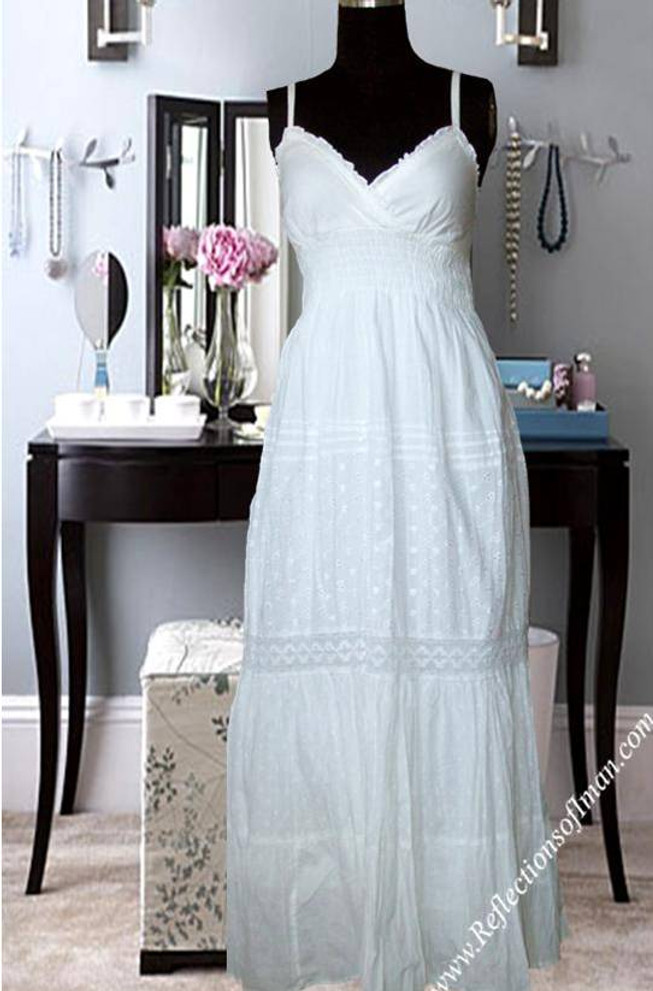 Tahari Crochet Eyelet Maxi Dress
