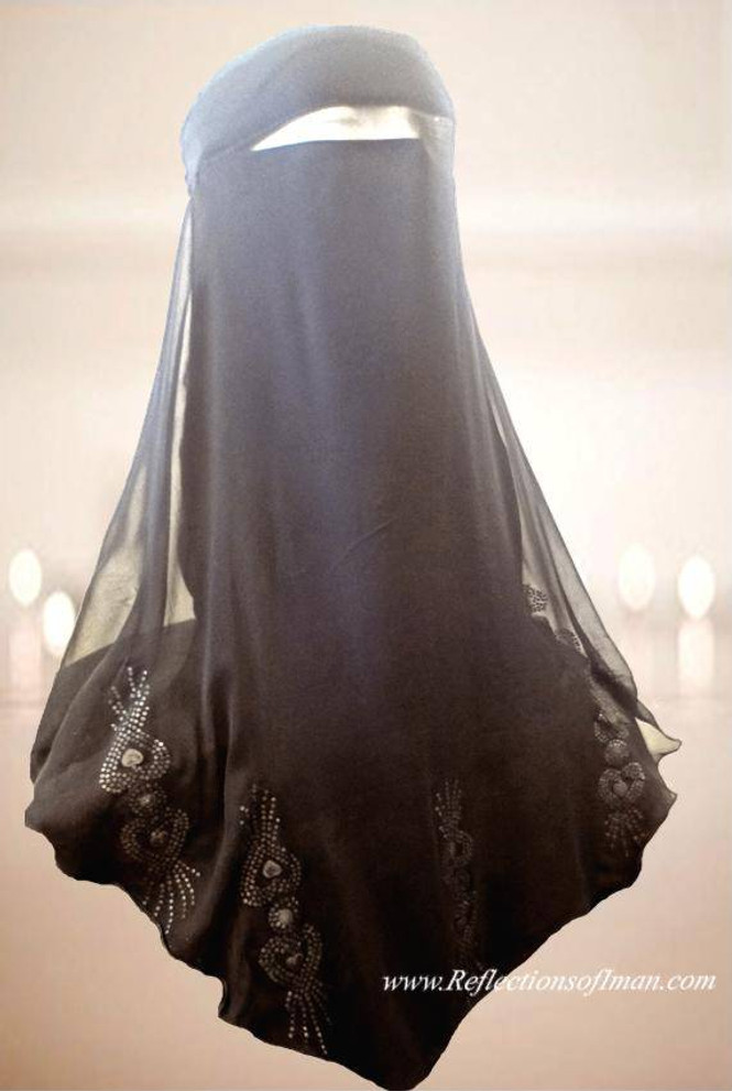 Saudi Double Layer - Beaded Scallop Edge ~ Love My Niqab