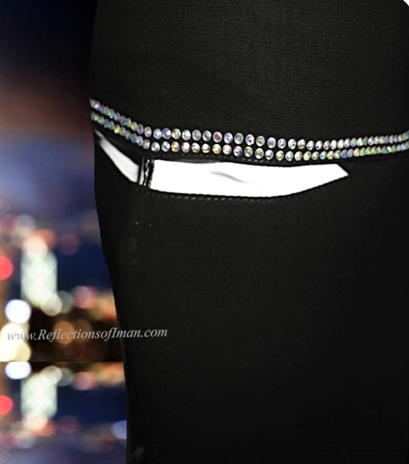 Khaleeji Black Niqab with Iridescent Stones