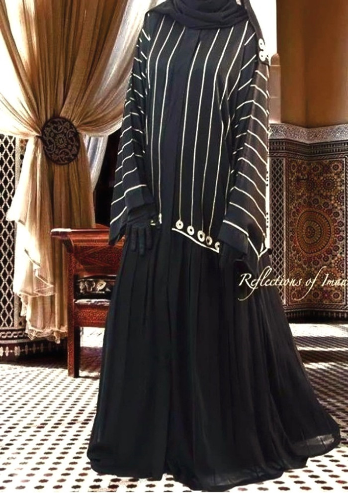 Elegant Kuwaiti Black Pleated Abaya