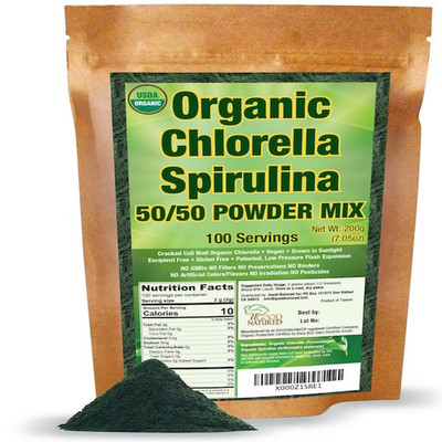 Organic chlorella spirulina powder