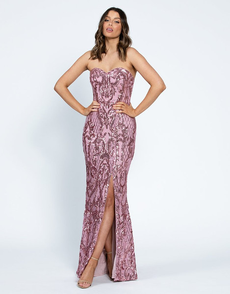 Alisan Sweetheart Pattern Sequin Gown