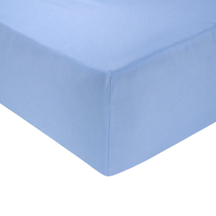 4ft Bed Light Blue Easy Care Fitted Sheet - 68 Pick Polycotton