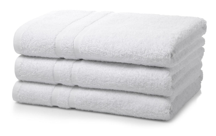 Single Piece White Wholesale Institutional and Hotel Bath Towels - 400 GSM