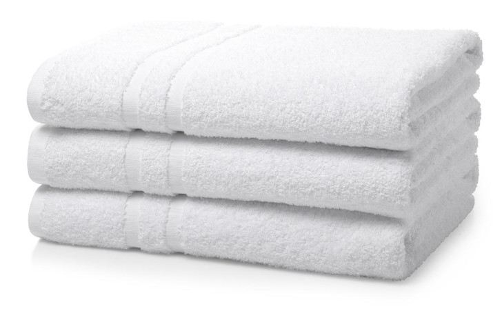 Box of 24 White Wholesale Institutional and Hotel Bath Towels - 500 GSM