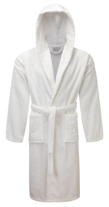 Luxury Hooded White Terry Towelling Dressing Gown - Egyptian Collection Soft Cotton