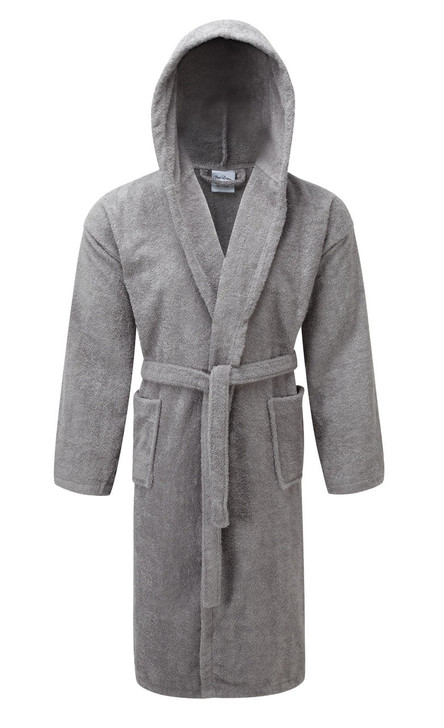 Luxury Hooded Silver Light Grey Terry Towelling Dressing Gown - Egyptian Collection Soft Cotton