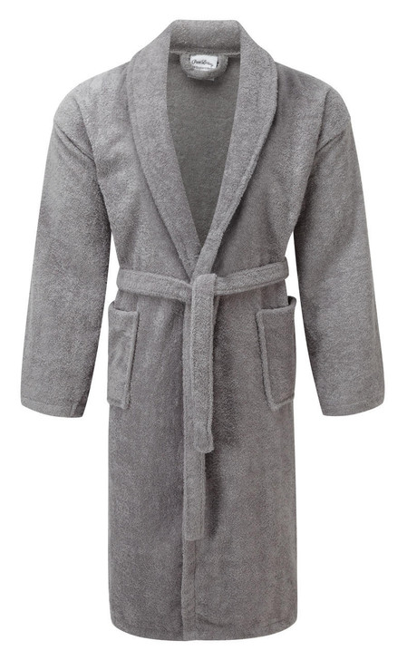 Luxury Shawl Collar Silver Light Grey Terry Towelling Dressing Gown - Egyptian Collection Soft Cotton