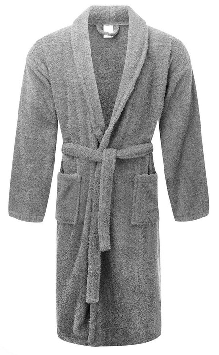 Grey - Dressing Gowns Terry Towelling