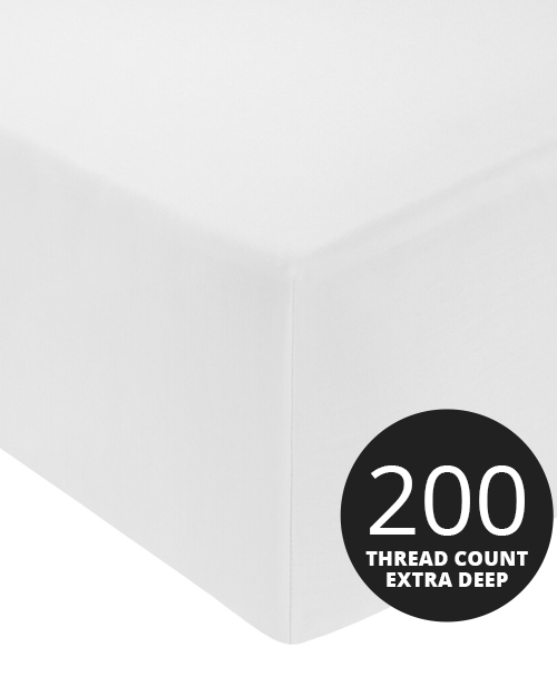 200TC Extra Deep Fitted Sheets (Up to 16'') 100% Cotton