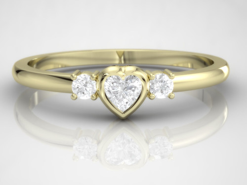 Diamond ring. Engagement ring. Diamond heart ring. Dainty ring. 14K/ 18K / Platinum.