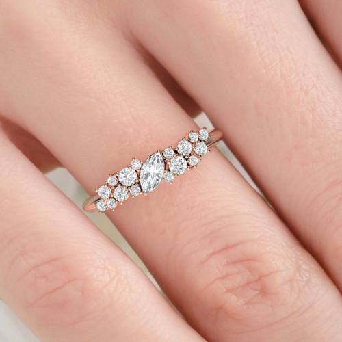 Marquise diamond ring. Diamond eternity. Wedding ring. 14K / 18K / Platinum.