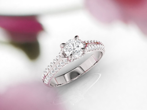 Diamond engagement ring. Diamond ring. Available in 14K, 18K yellow, white and rose gold.