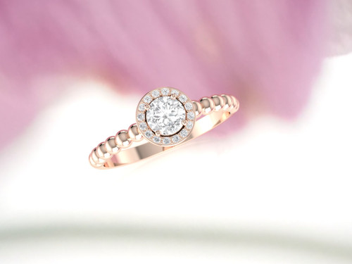 Diamond engagement ring. Diamond ring. Diamond halo ring. Available in 14K, 18K, rose, yellow or white gold. Also in Platinum.