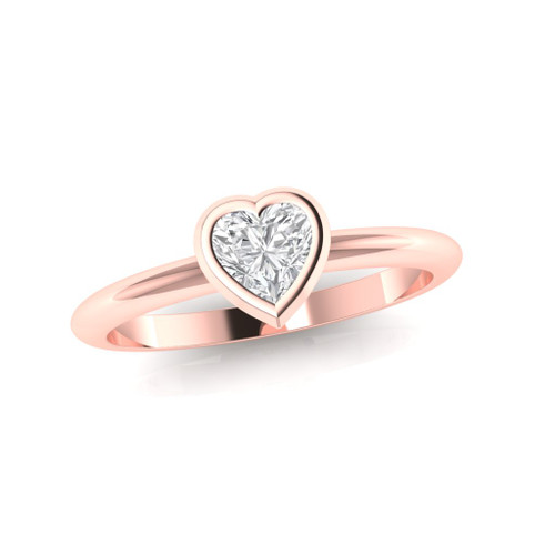 Diamond ring. Diamond engagement ring, Heart shape diamond ring. Minimal modern rose gold diamond ring. Also available in white, yellow gold