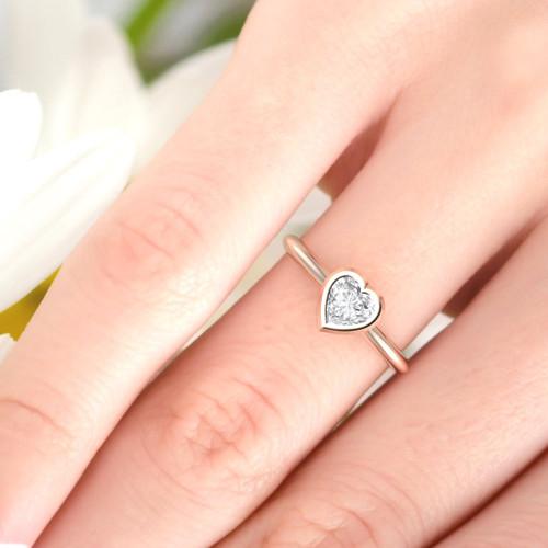 Diamond ring. Diamond engagement ring, Heart shape diamond ring. Minimal modern rose gold diamond ring. Also available in white, yellow gold