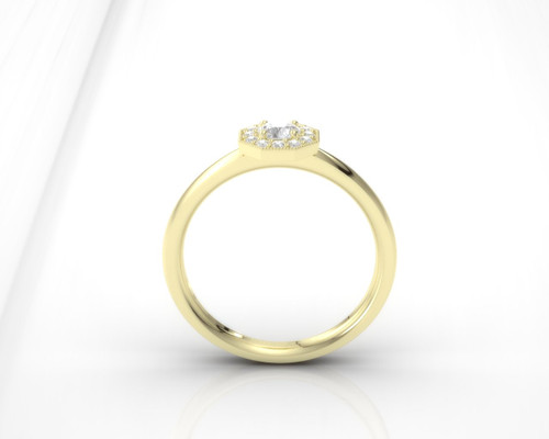 Diamond engagement ring. Honeycomb diamond ring. Available in 14K / 18K yellow, rose, white or platinum.