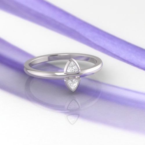 Engagement ring. Diamond ring. Trillion diamond ring.