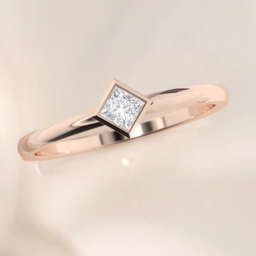 Princess engagement ring. Diamond ring. Dainty diamond ring. Minimalist engagement ring. 14K, 18K, Platinum.