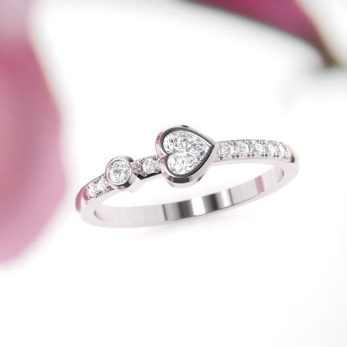 The Dalisay ring. Diamond engagement ring. Wedding ring. Eternity ring. Heart diamond ring. 14K, 18K Platinum.