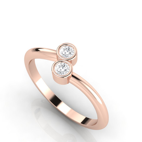 Engagement ring. Diamond ring. Rose gold diamond twist ring.