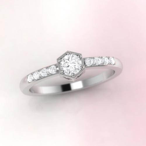Diamond ring. Engagement ring. Vintage inspired diamond ring.