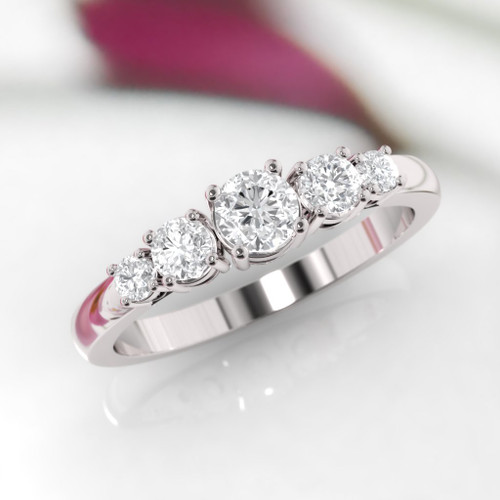 Diamond ring. Diamond eternity ring. Five stone engagement ring.Available in 14K, 18K or Platinum.