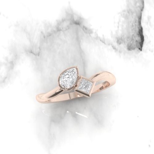 Diamond ring. Diamond engagement ring. Pear and Princess diamonds. Eternity ring. Wedding ring. 14K / 18K / Platinum.