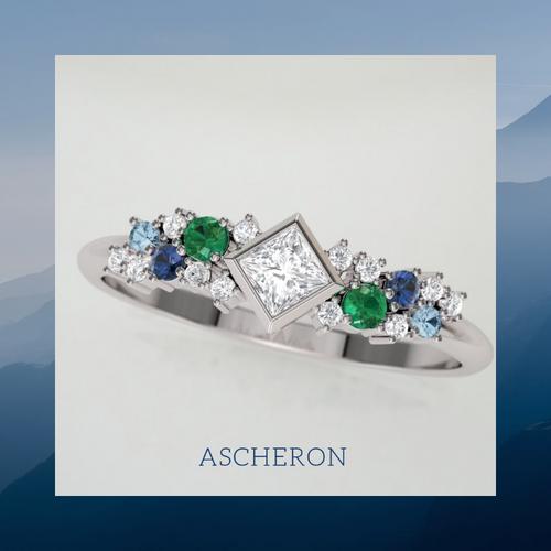 Princess diamond ring. Diamond, emerald sapphire and topaz eternity ring. Wedding ring. 14K / 18K / Platinum.