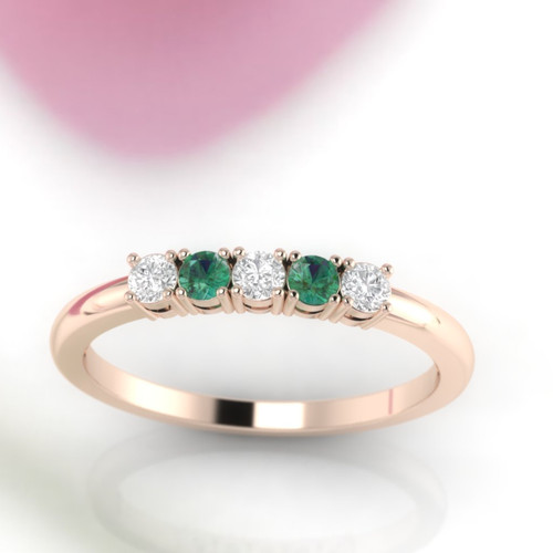 Emerald ring. Diamond and Emerald ring eternity ring. Wedding ring. 14K / 18K / Platinum.