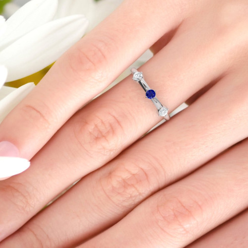 Wedding ring. Sapphire and Diamond ring. Eternity ring. Three diamonds available in 14K/18K white, yellow or rose gold. Also platinum.