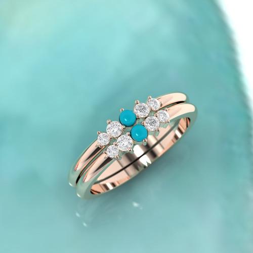 Wedding ring. Diamond wedding ring. Diamond and turquoise ring. Diamond eternity. 14K / 18K / Platinum.