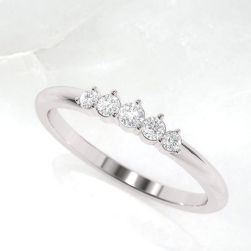Wedding ring. Diamond wedding ring. 5 Diamond eternity. 14K / 18K / Platinum.