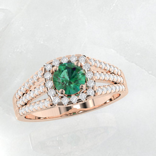 Emerald ring. Engagement ring. Diamond and emerald ring. Available in 14K, 18K yellow, white and rose gold also in platinum.