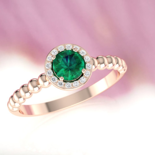 Emerald engagement ring. Emerald and diamond ring. Rose emerald ring.