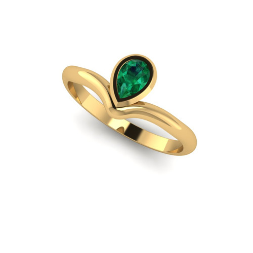 Emerald ring. Pear shape emerald rose gold ring. Emerald engagement ring. Designer engagement ring.