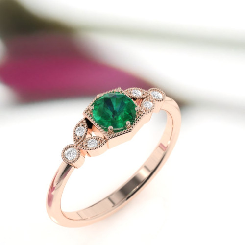 Emerald ring. Emerald and diamond ring. Emerald engagement ring with fine millgrain detail. 14K, 18K or platinum. Vintage inspired ring.
