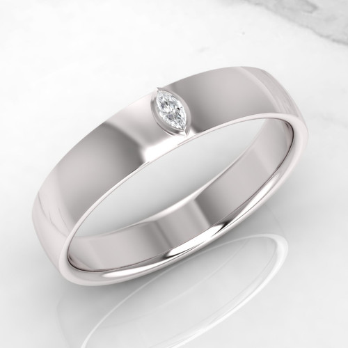 Wedding ring. Mens wedding ring. Marquise diamond wedding ring. 5mm wide. Available in 9K, 14K, 18K, Platinum