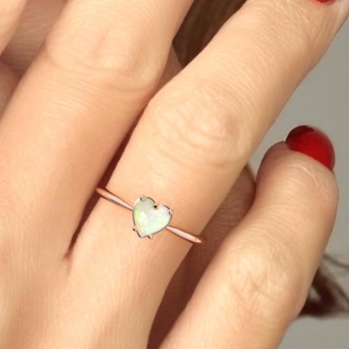 Opal ring. Heart shape opal rose gold ring. Opal engagement ring. Designer engagement ring.