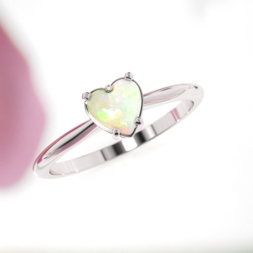 Opal ring. Heart shape opal rose gold ring. Opal engagement ring. Designer engagement ring.