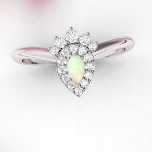 Opal Engagement ring. Wishbone diamond ring. Rose gold pear shape opal ring. Available in 14K, 18K rose, yellow and white gold.