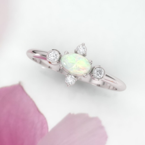 Opal engagement ring. Opal and diamond cluster. Eternity ring. Wedding ring. 14K / 18K / Platinum.