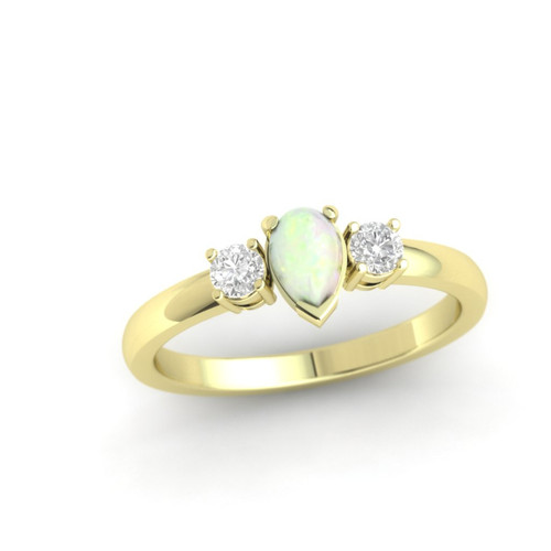Opal and diamond engagement ring. Diamond ring. Pear shape Opal. 14K , 18K or Platinum.
