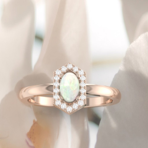 Opal engagement ring. Stunning opal and diamond ring. Vintage inspired ring. Available in 18K, 14K, yellow, rose or white gold.