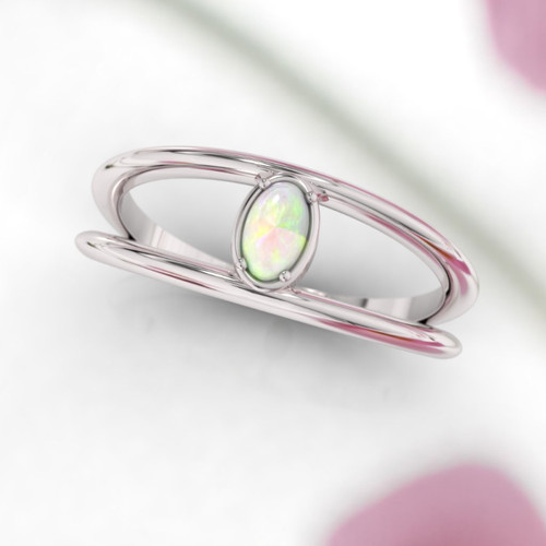 Opal ring. Opal engagement ring. Double band opal ring. Minimalist modern dainty design.