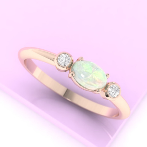 Opal ring. Diamond and Opal engagement ring. Eternity ring. Wedding ring. 14K / 18K / Platinum.