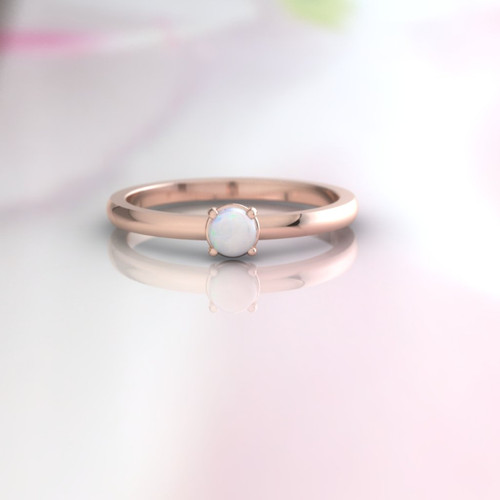 Opal ring. Opal engagement ring. Opal promise ring. Wedding ring. Dainty modern minimalist ring.