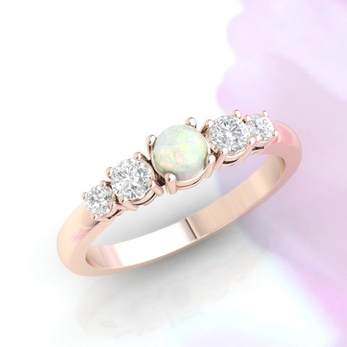 Opal ring. Opal and diamond ring. Opal engagement ring. Eternity ring. Engagement ring. Rose gold ring. 14K / 18K / Platinum.