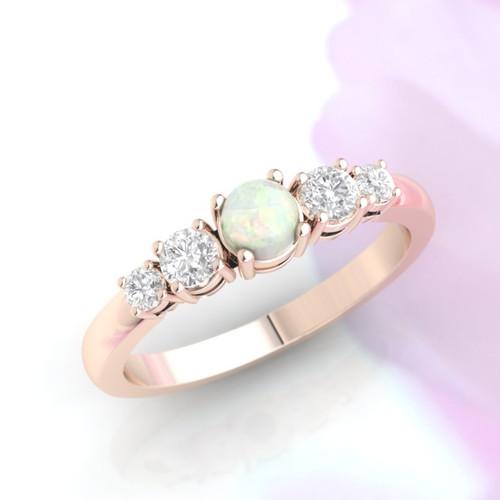 Opal ring. Opal and diamond ring. Opal engagement ring. Eternity ring. Engagement ring. Rose gold ring. 14K / 18K / Platinum.